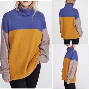 Free People Colorblock Ribbed Knit Turtleneck